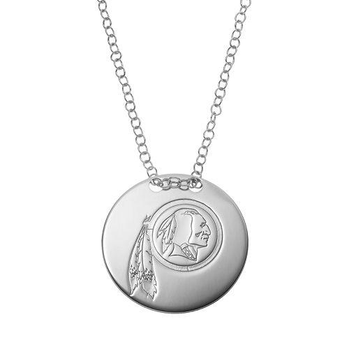 Washington Redskins Sterling Silver Team Logo Disc Pendant Necklace