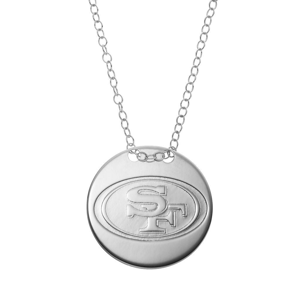 San Francisco 49ers Sterling Silver Team Logo Disc Pendant Necklace