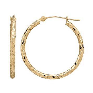 Everlasting Gold 10k Gold Textured Hoop Earrings