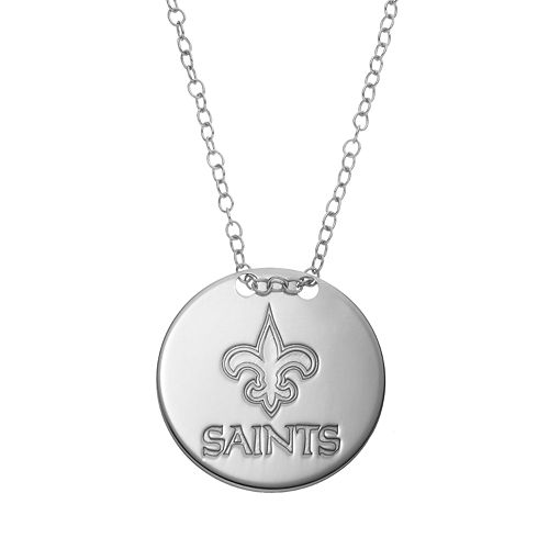 New Orleans Saints Sterling Silver Team Logo Disc Pendant Necklace