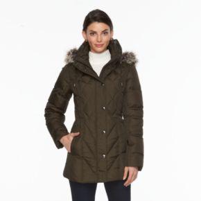 Women's Towne by London Fog Hooded Down Puffer Jacket