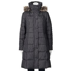 Womens Towne by London Fog Hooded Down Quilted Puffer Walker Coat by