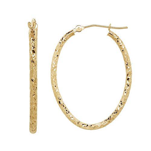 Everlasting Gold 10k Gold Textured Oval Hoop Earrings