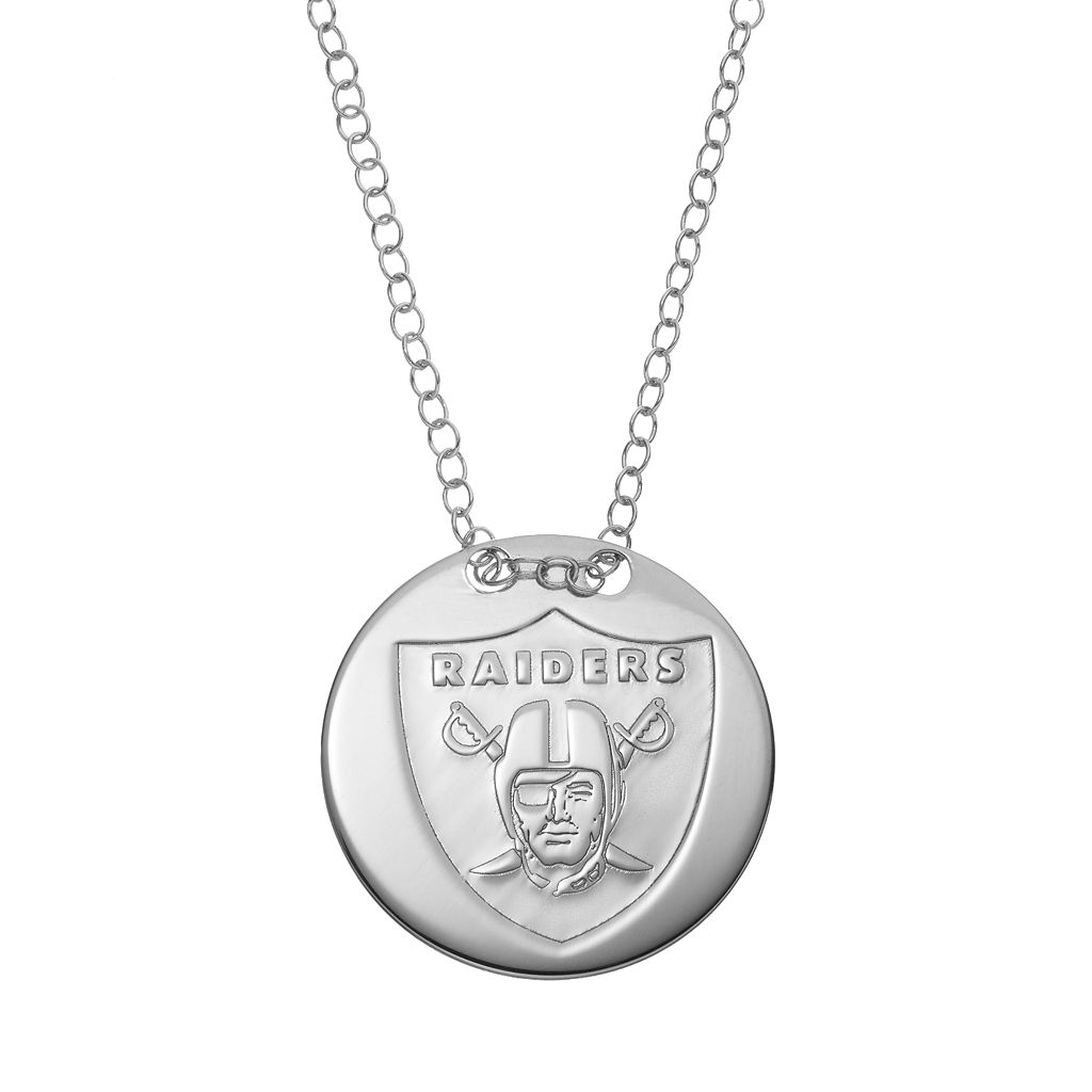 Oakland Raiders Sterling Silver Team Logo Disc Pendant Necklace
