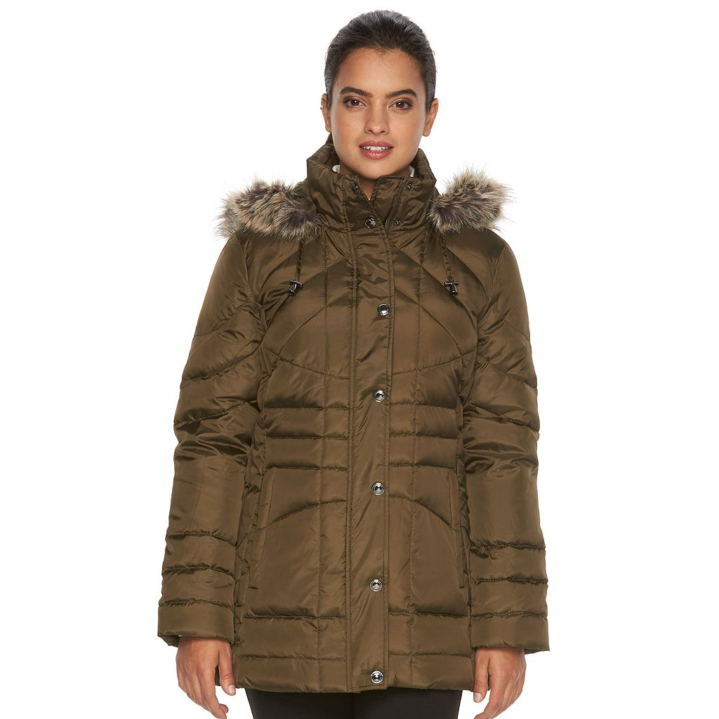 Women's Towne by London Fog Down Hooded Quilted Puffer Jacket