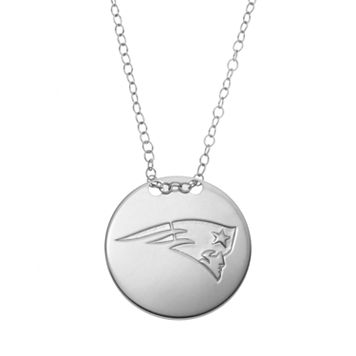 New England Patriots Sterling Silver Team Logo Disc Pendant Necklace