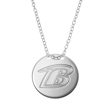 Baltimore Ravens Sterling Silver Team Logo Disc Pendant Necklace