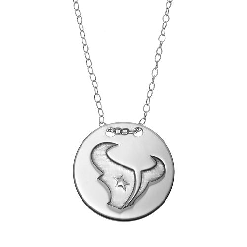 Houston Texans Sterling Silver Team Logo Disc Pendant Necklace