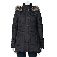 Petite Towne by London Fog Hooded Down Quilted Puffer Jacket