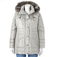 Plus Size Towne by London Fog Hooded Down Quilted Puffer Jacket
