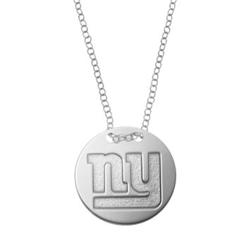 New York Giants Sterling Silver Team Logo Disc Pendant Necklace