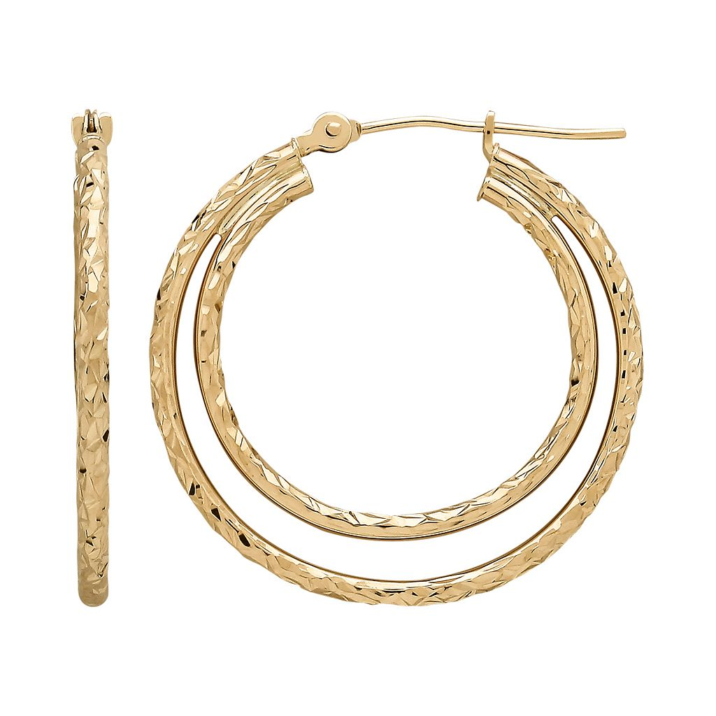 Everlasting Gold 10k Gold Textured Double Hoop Earrings