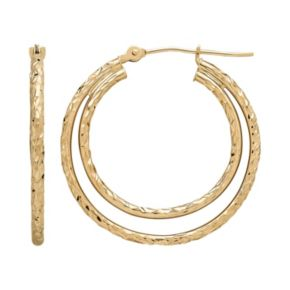 Everlasting Gold 10k Gold Textured Double Hoop Earrings