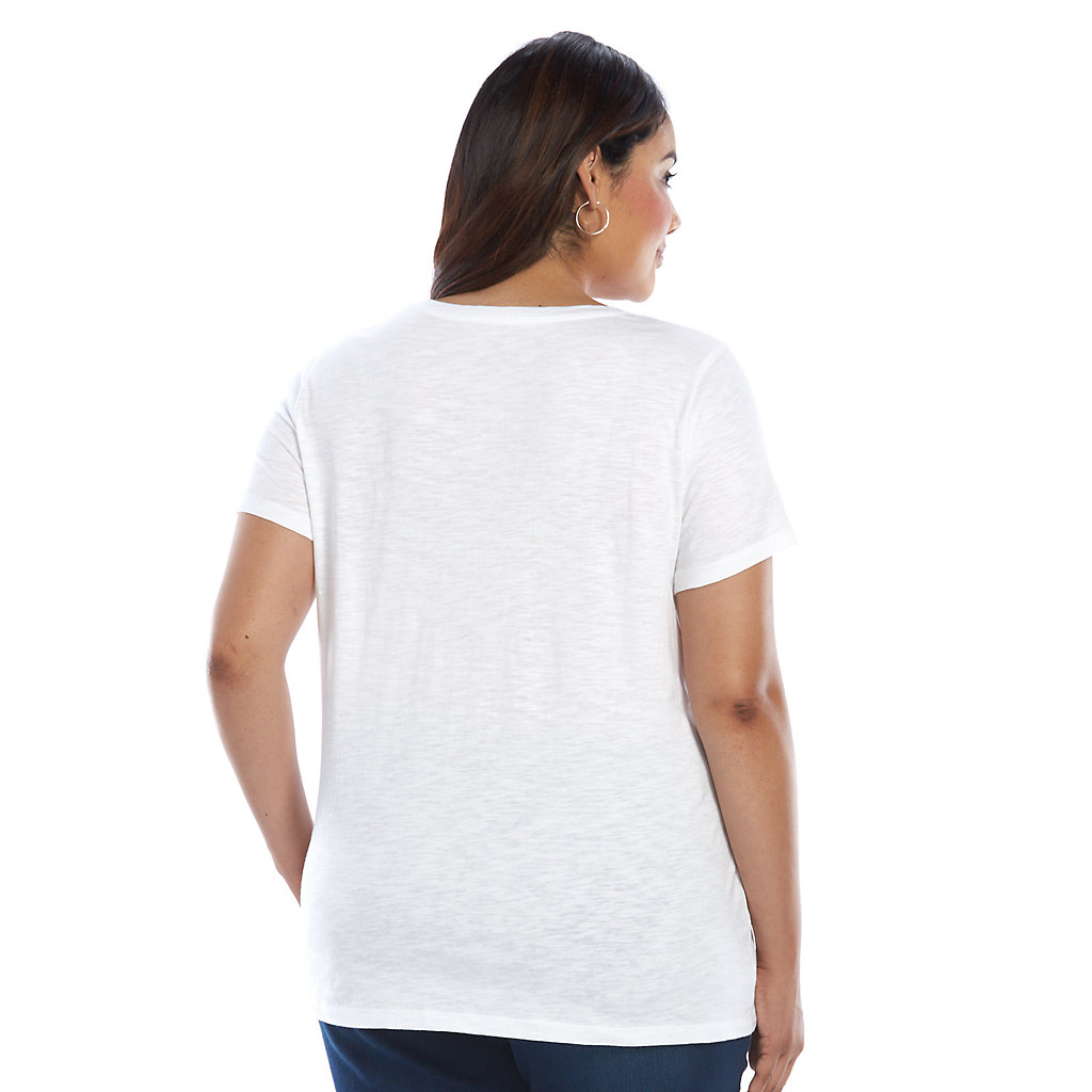Plus Size SONOMA Goods for Life™ V-Essential Tee