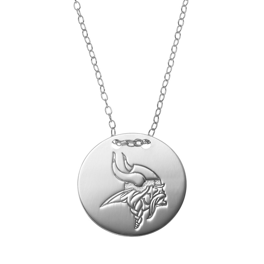 Minnesota Vikings Sterling Silver Team Logo Disc Pendant Necklace