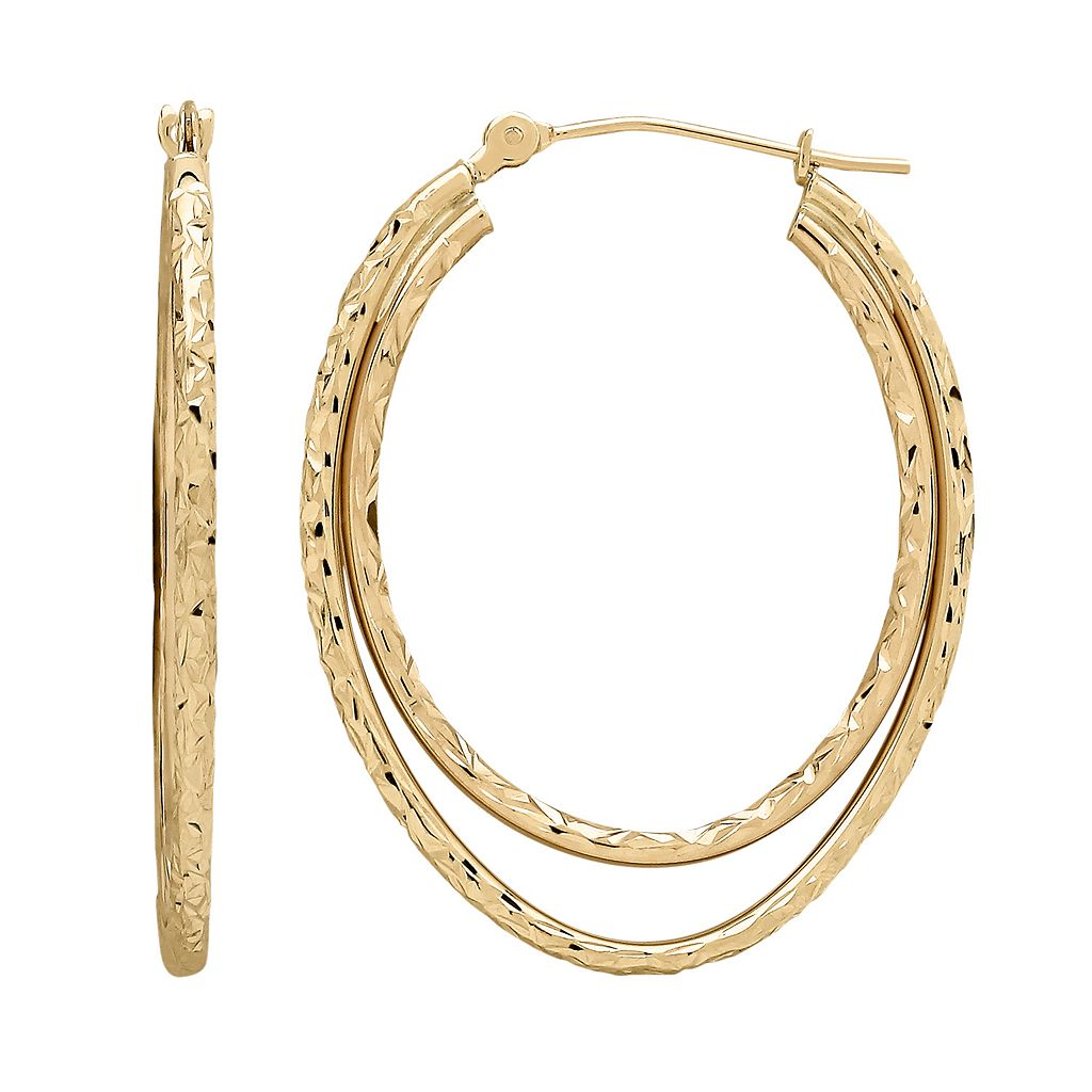 Everlasting Gold 10k Gold Textured Oval Double Hoop Earrings