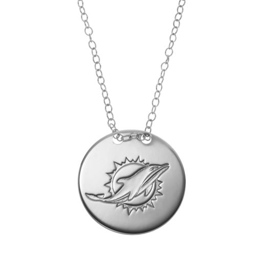 Miami Dolphins Sterling Silver Team Logo Disc Pendant Necklace