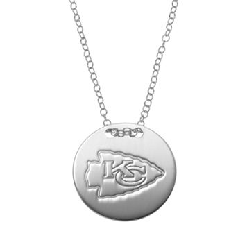 Kansas City Chiefs Sterling Silver Team Logo Disc Pendant Necklace
