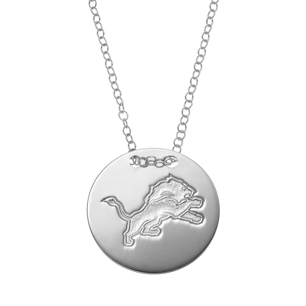 Detriot Lions Sterling Silver Team Logo Disc Pendant Necklace