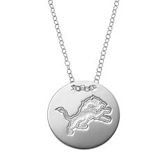 Detroit Lions Sterling Silver Team Logo Disc Pendant Necklace
