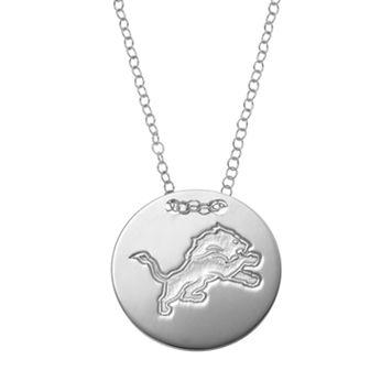 Detriot Lions Sterling Silver Team Logo Disc Pendant Necklace