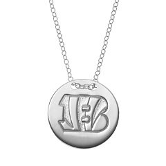 Cincinnati Bengals Sterling Silver Team Logo Disc Pendant Necklace