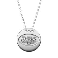 New York Jets Sterling Silver Team Logo Disc Pendant Necklace