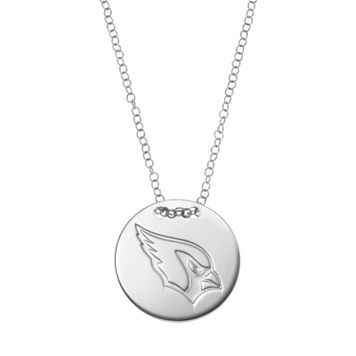 Arizona Cardinals Sterling Silver Team Logo Disc Pendant Necklace