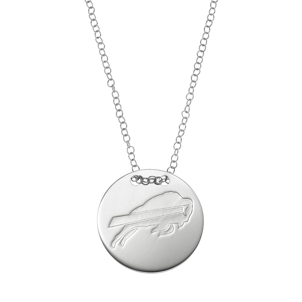 Bufallo Bills Sterling Silver Team Logo Disc Pendant Necklace