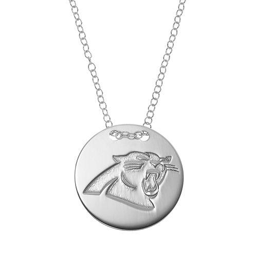 Carolina Panthers Sterling Silver Team Logo Disc Pendant Necklace