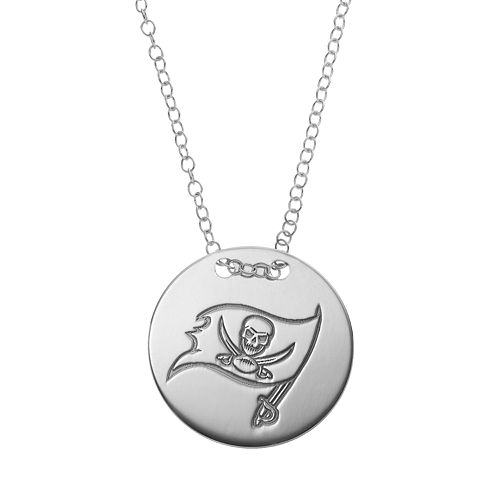 Tampa Bay Buccaneers Sterling Silver Team Logo Disc Pendant Necklace