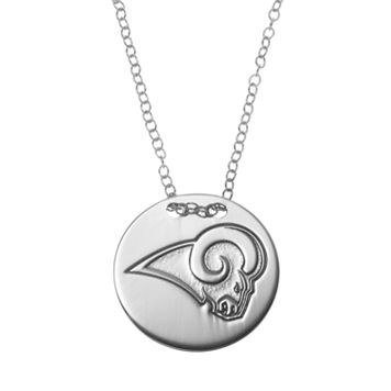Los Angeles Rams Sterling Silver Team Logo Disc Pendant Necklace