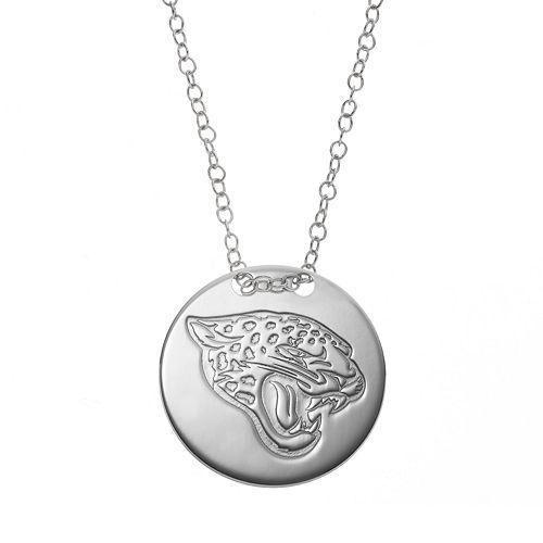 Jacksonville Jaguars Sterling Silver Team Logo Disc Pendant Necklace