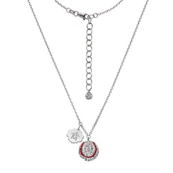 Houston Astros Crystal Sterling Silver Baseball & Logo Charm Necklace