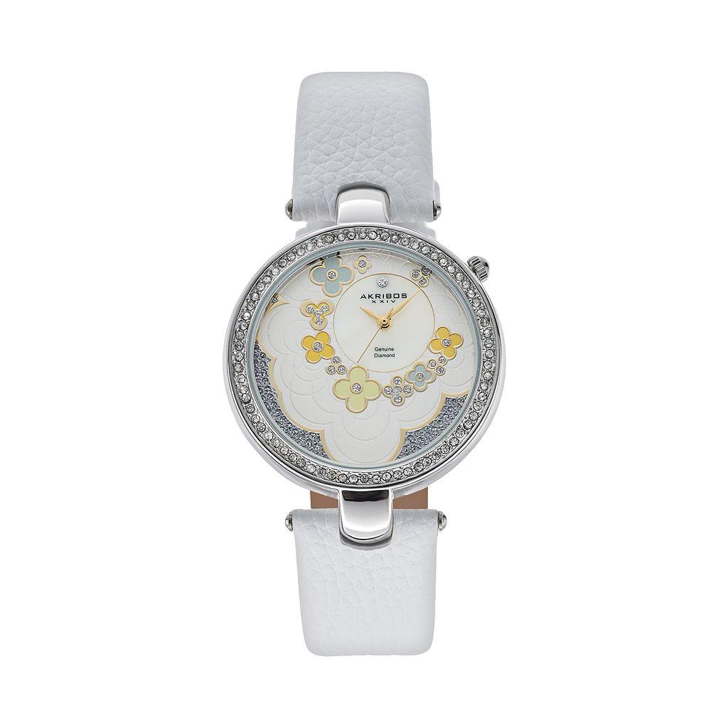 Akribos XXIV Women's Fiora Diamond Leather Watch
