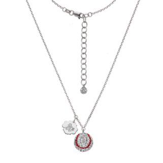 Oakland Athletics Crystal Sterling Silver Baseball & Logo Charm Necklace