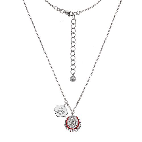 Oakland Athletics Crystal Sterling Silver Baseball & Logo Charm Necklace