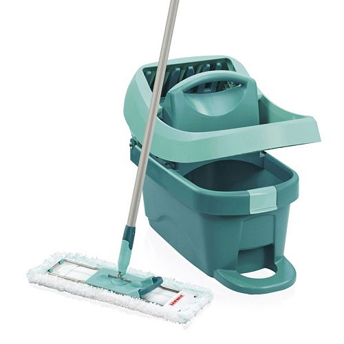 Leifheit 3-pc. Profi System Floor Wiper Mop, 2-Gallon Bucket with Mop Press & Microfiber Cleaning Pad Set