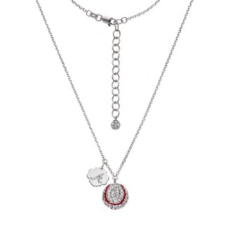 Atlanta Braves Crystal Sterling Silver Baseball & Logo Charm Necklace