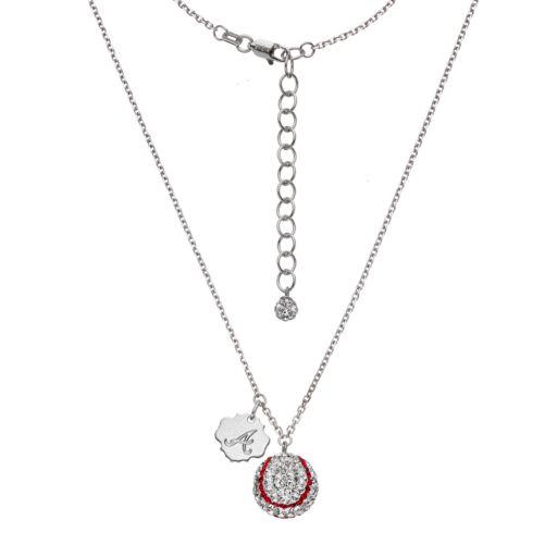 Atlanta Braves Crystal Sterling Silver Baseball & Logo Charm Necklace