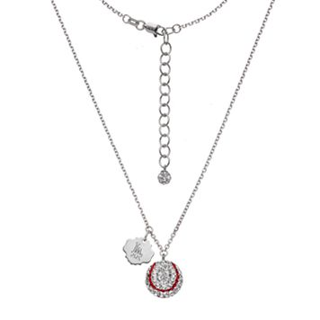 Los Angeles Dodgers Crystal Sterling Silver Baseball & Logo Charm Necklace