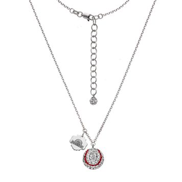 Seattle Mariners Crystal Sterling Silver Baseball & Logo Charm Necklace