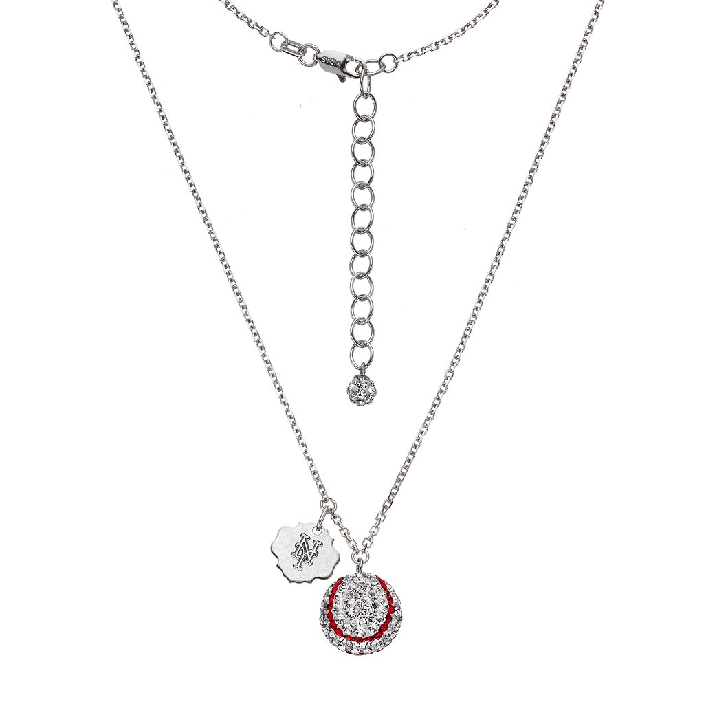 New York Mets Crystal Sterling Silver Baseball & Logo Charm Necklace