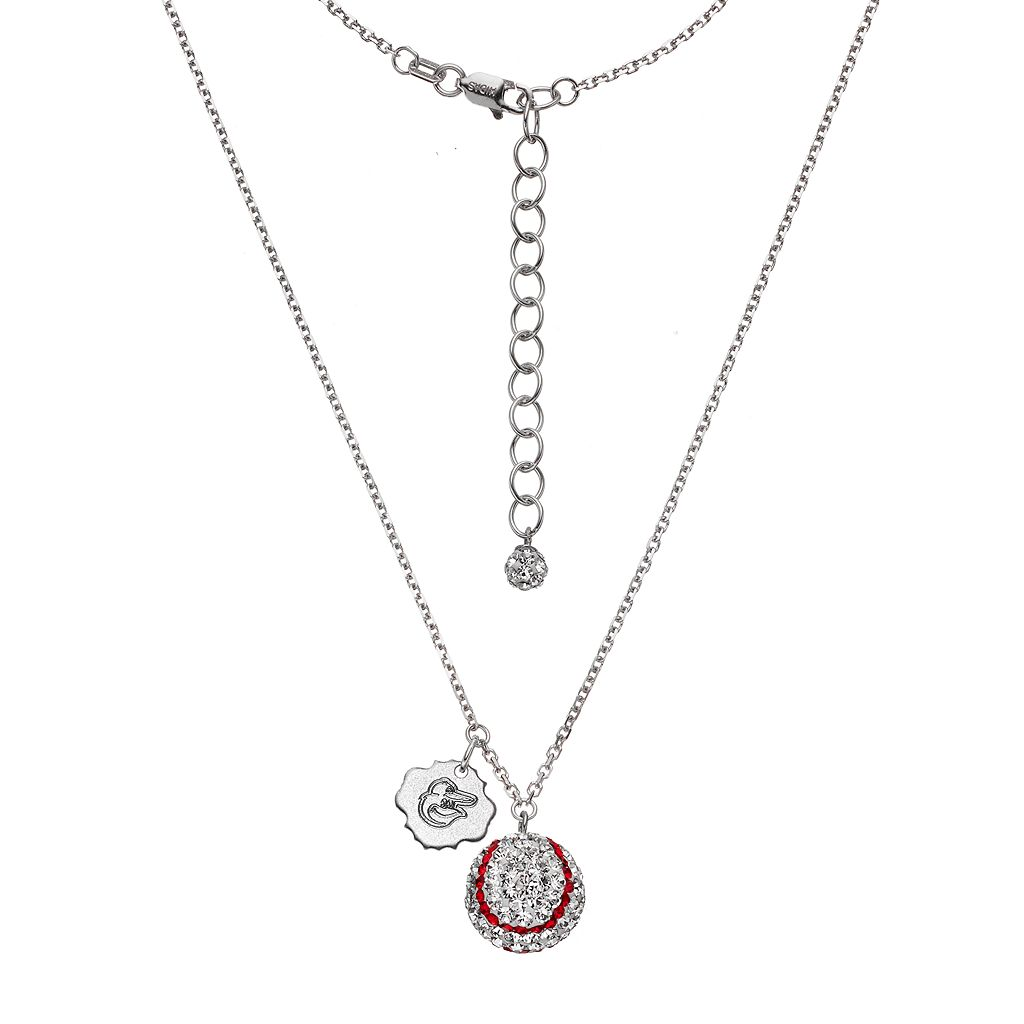 Baltimore Orioles Crystal Sterling Silver Baseball & Logo Charm Necklace