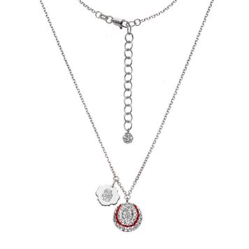 San Diego Padres Crystal Sterling Silver Baseball & Logo Charm Necklace