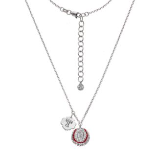 Texas Rangers Crystal Sterling Silver Baseball & Logo Charm Necklace