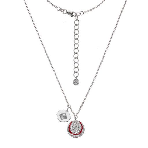Tampa Bay Rays Crystal Sterling Silver Baseball & Logo Charm Necklace
