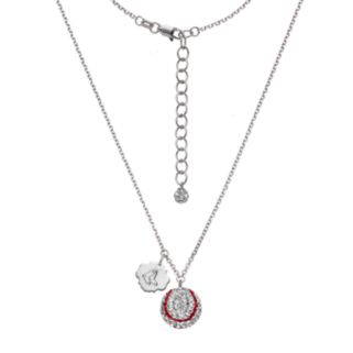 Boston Red Sox Crystal Sterling Silver Baseball & Logo Charm Necklace