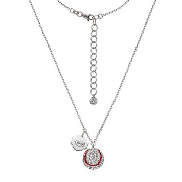 Cincinnati Reds Crystal Sterling Silver Baseball & Logo Charm Necklace