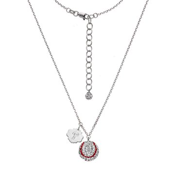 Philadelphia Phillies Crystal Sterling Silver Baseball & Logo Charm Necklace